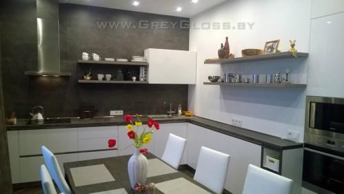 Кухня без ручек угловая белая + бетон