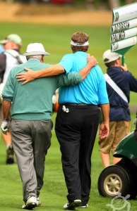 Arnold Palmer (left) and Peter Jacobsen share a moment at Palmer's last appearance in the Northwest in 2011 at the Umpqua Challenge in Portland. Photo by Scott H. Bisch