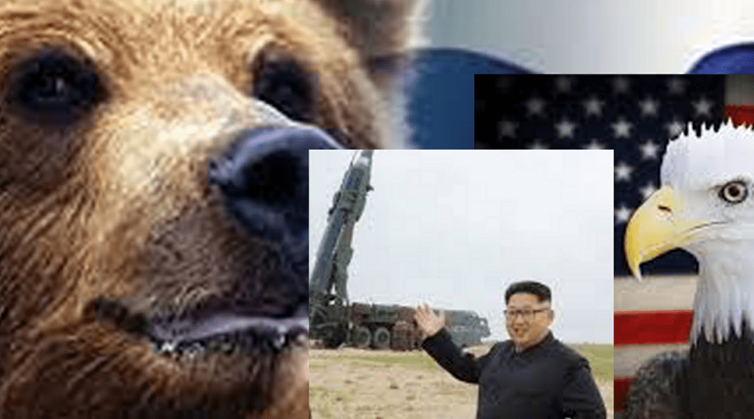 The Russian Bear leading the bald Trump eagle in a game of nuclear Jong