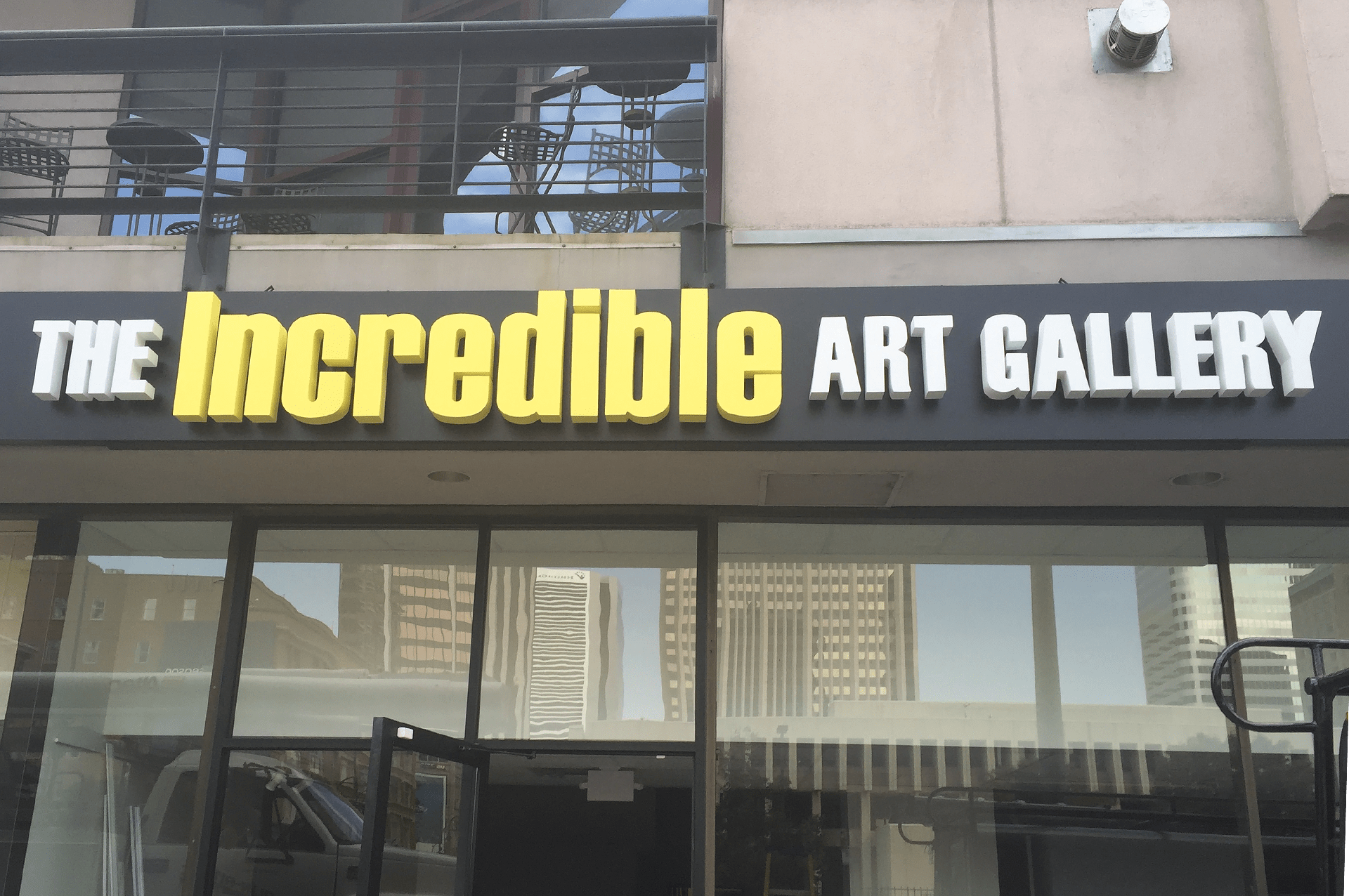 The Incredible Art Gallery channel letter sign