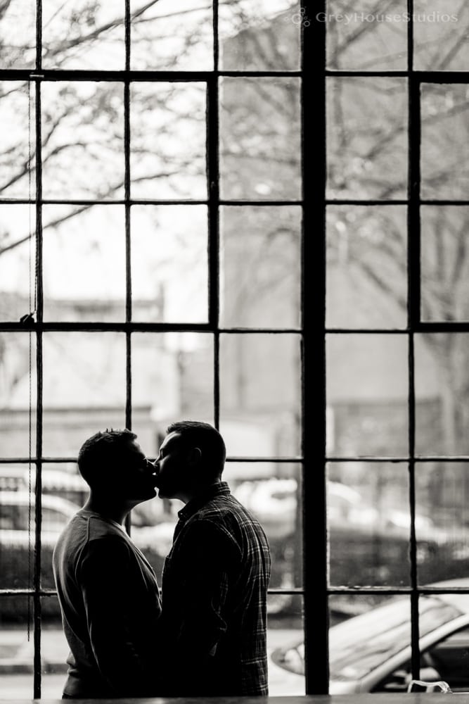 Chris + Dan's Edgerton Park + Bar Restaurant Engagement photography in New Haven, CT