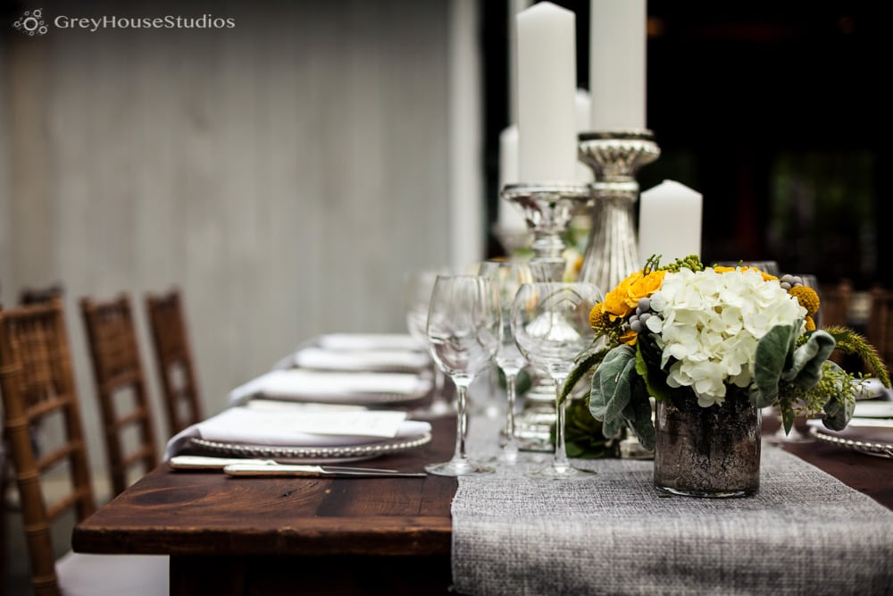 winvian wedding photos farm table grey runner wedding details
