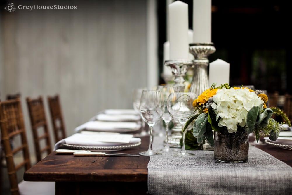 winvian wedding photos farm table grey runner wedding details