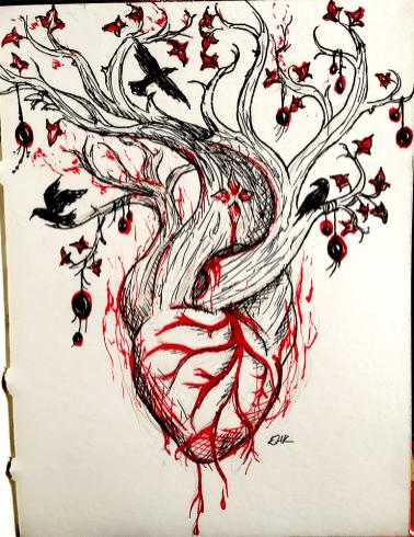 winter solstice ink sketch