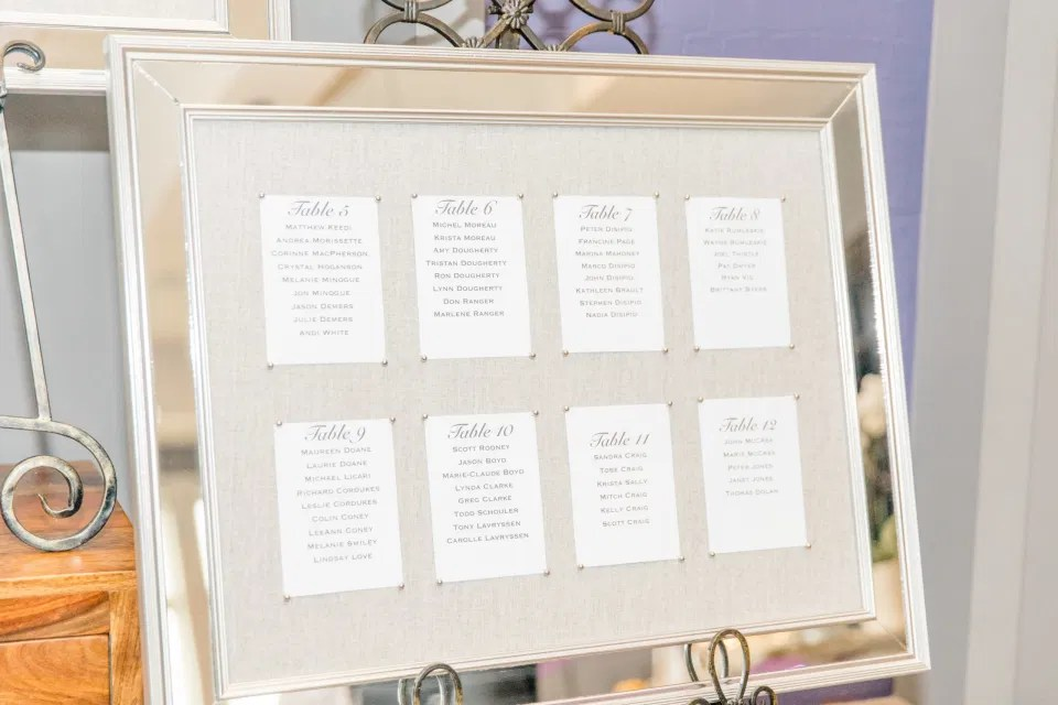 DIY Seating Chart - Bride and Groom Natural Posing - Having Fun with Bridesmaids - Black Bridesmaids Dresses for Curves - Holy Spirit Catholic Church Stittsville - Bride with Bridesmaids - Black and White Theme Wedding - Romantic Wedding at NeXt in Stittsville - Grey Loft Studio - Ottawa Wedding Photographer - Ottawa Wedding Photo & Video Team