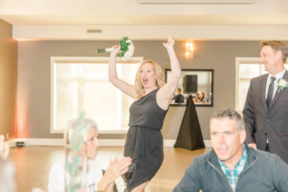Grand Entrance - Bridesmaids - Bride and Groom Natural Posing - Having Fun with Bridesmaids - Black Bridesmaids Dresses for Curves - Holy Spirit Catholic Church Stittsville - Bride with Bridesmaids - Black and White Theme Wedding - Romantic Wedding at NeXt in Stittsville - Grey Loft Studio - Ottawa Wedding Photographer - Ottawa Wedding Photo & Video Team