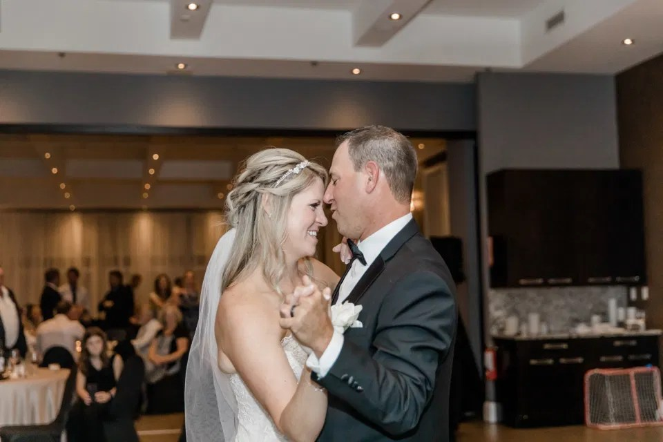 First Dance - Reception Photos at NeXt in Stittsville - Bride and Groom Natural Posing - Having Fun with Bridesmaids - Black Bridesmaids Dresses for Curves - Holy Spirit Catholic Church Stittsville - Bride with Bridesmaids - Black and White Theme Wedding - Romantic Wedding at NeXt in Stittsville - Grey Loft Studio - Ottawa Wedding Photographer - Ottawa Wedding Photo & Video Team