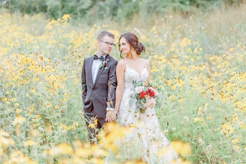 Bride & Groom - Wildflower Field - Amy &. Nick | Le Belvedere at Wakefield in Quebec - Ottawa Wedding Venue - Grey Loft Studio