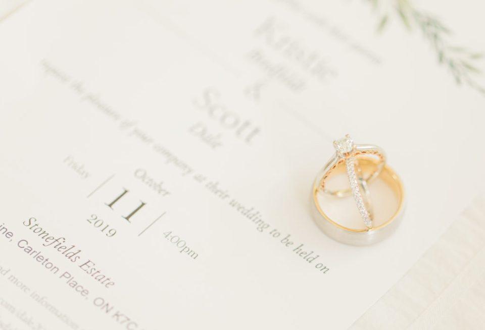 Wedding Ring Styling - Stonefields Weddings and Events Interior - Ottawa Wedding Venue - Modern & Rustic Wedding Venue