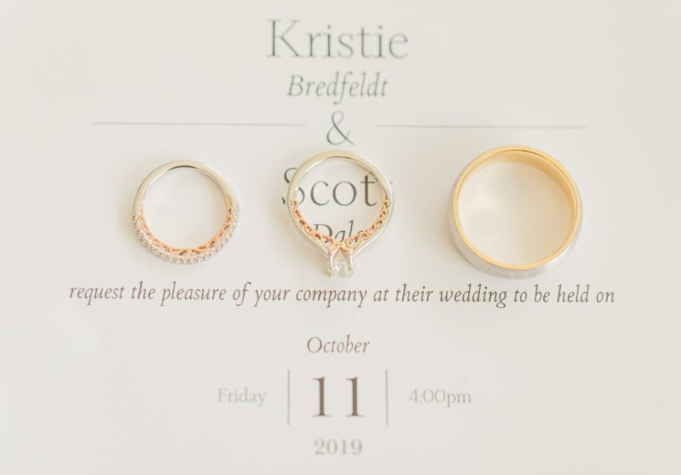 three rings on a wedding invitation at stonefields in carleton place