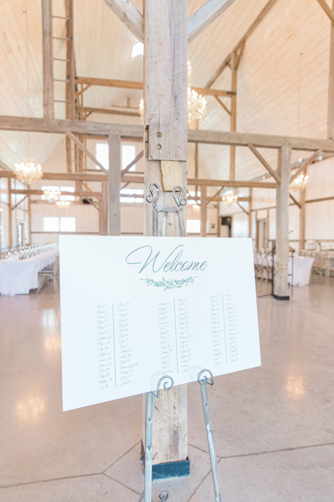 Seating Chart - Inside the Loft - Reception - Stonefields Weddings and Events Interior - Ottawa Wedding Venue - Modern & Rustic Wedding Venue