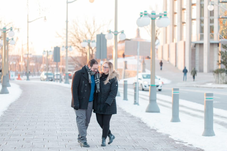 Winter Engagement Session Downtown Ottawa during Sunset National Art Gallery grey loft studio ottawa wedding photographer videographer engagement kanata orleans nepean beautiful locations for engagement photos in ottawa