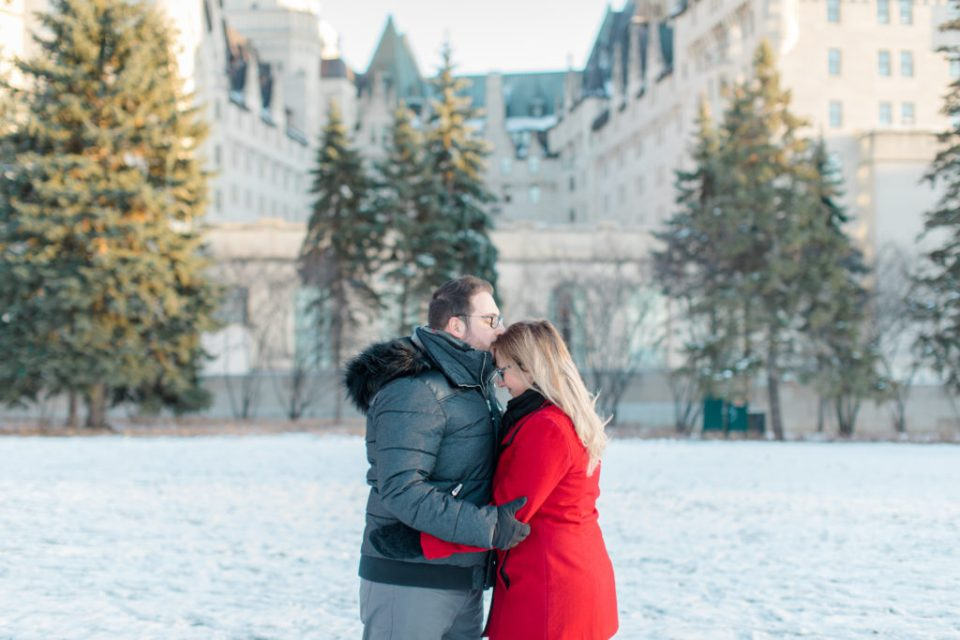 Winter Engagement Session Downtown Ottawa during Sunset National Art Gallery grey loft studio ottawa wedding photographer videographer engagement kanata orleans nepean beautiful locations for engagement photos in ottawa chateau laurier majors hill park
