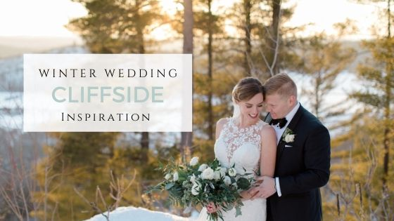 Winter Wedding - Cliffside Inspiration - Wedding in Canada, Le Belvedere Sunset Inspiration. White and Greenery Black Tie Wedding -Modern Wedding with Baby Blue