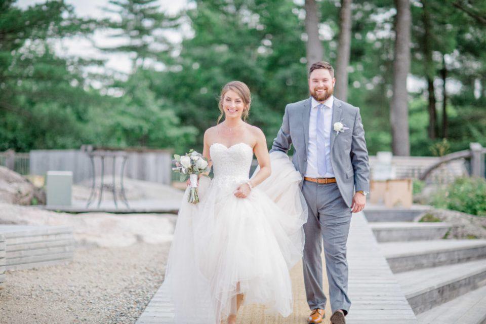 Bride's Dress being held by her Groom - Walking - Lavender Rain Inspired Wedding - Le Belvedere- Grey Loft Studio- Ottawa Wedding Photographer - Affordable - Cheap - Fine Art - Best - Kanata Photographer - Wedding Videographer Ottawa - Light and Airy - Beautiful - Timeless - Organic Photographer Carp - Stittsville