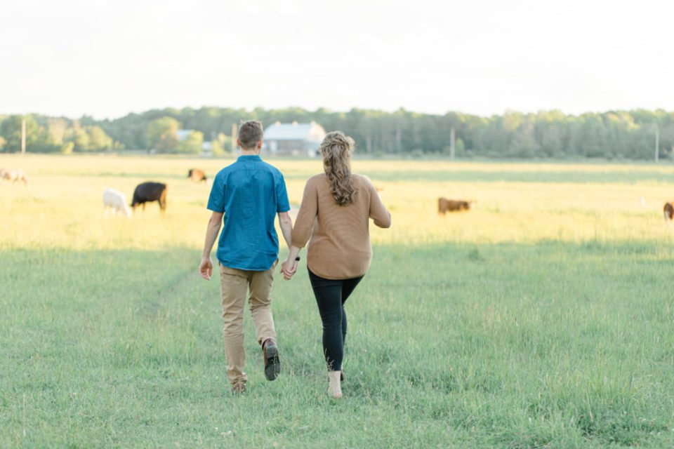 Cows during Engagement Session - Poses during Engagement Session  Sunset - Natural Posing for Photo Session - Couples Photo Session Fun - Fun on the Farm - Farm Engagement Session - Blue and Brown Engagement Session Inspiration - Natural Engagement Session Posing - Ideas for what to wear for Engagement Photography, Modern Engagement Session Inspiration Wardrobe Ideas. Unsure of what to wear for your engagement photos, we've got you! Romantic brown with black leggings for Summer Engagement in Almonte. Grey Loft Studio is Ottawa's Wedding and Engagement Photographer for Real couples, showcasing photos that are modern, bright, and fun.