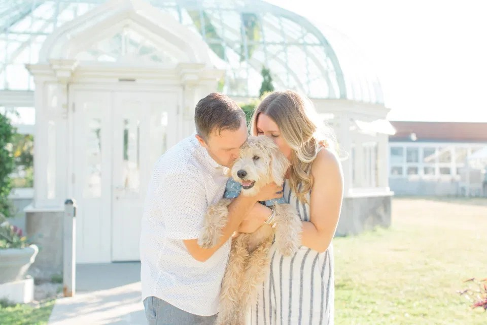 Neutral Blue/White/Grey Engagement Session Outfit Inspiration - Tropical Garden - Cute Puppy with Button up Shirt - Grey Loft Studio - Ottawa Engagement Session - Tropical Gardens - Peony Styled Engagement - Jéhanne & Trevor -Wedding Photographer Ottawa - Wedding Photo Ottawa - Ottawa Wedding Videographer - Ottawa Wedding Photography & Videography - Ottawa Photo Studio