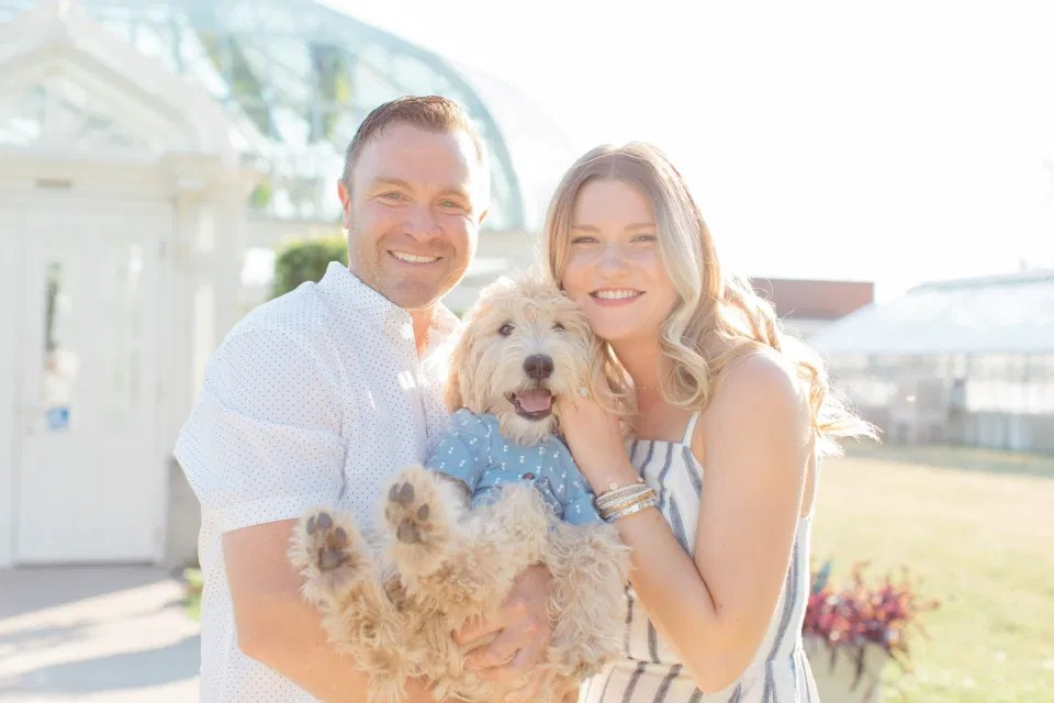 Neutral Blue/White/Grey Engagement Session Outfit Inspiration - Cute Puppy with Button up Shirt - Grey Loft Studio - Ottawa Engagement Session - Tropical Gardens - Peony Styled Engagement - Jéhanne & Trevor -Wedding Photographer Ottawa - Wedding Photo Ottawa - Ottawa Wedding Videographer - Ottawa Wedding Photography & Videography - Ottawa Photo Studio