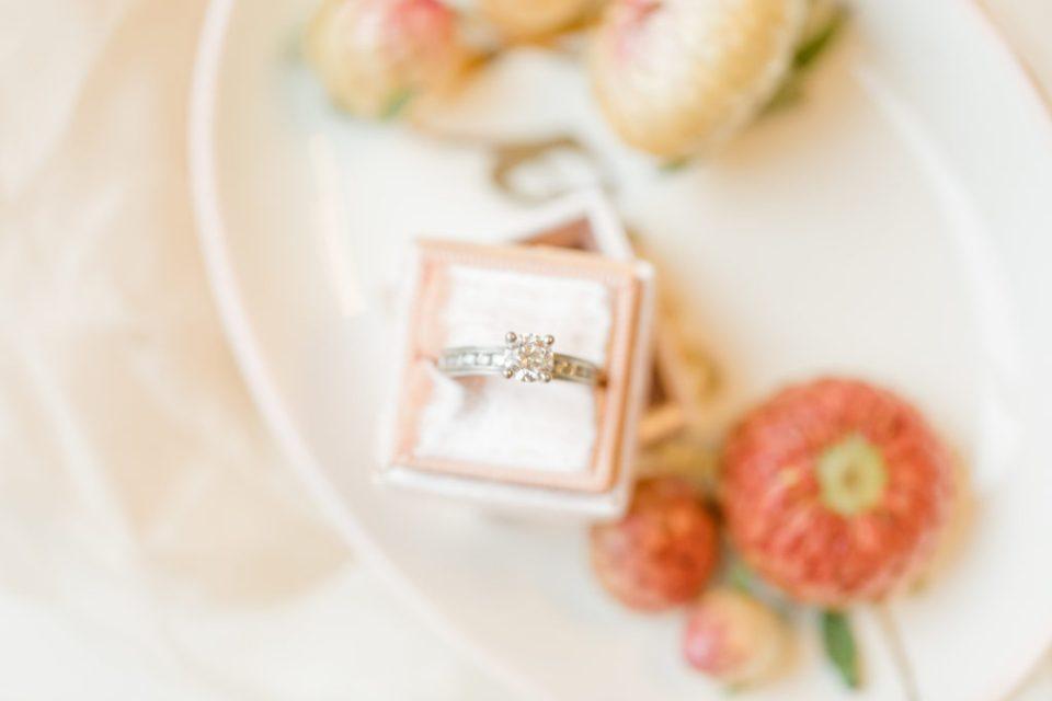 The Mrs. Box Pink - Wedding Ring Detail Shot - Bride getting Ready Photos - Makeup Artist - Romantic Wedding at NeXt in Stittsville - Grey Loft Studio - Ottawa Wedding Photographer - Ottawa Wedding Photo & Video Team