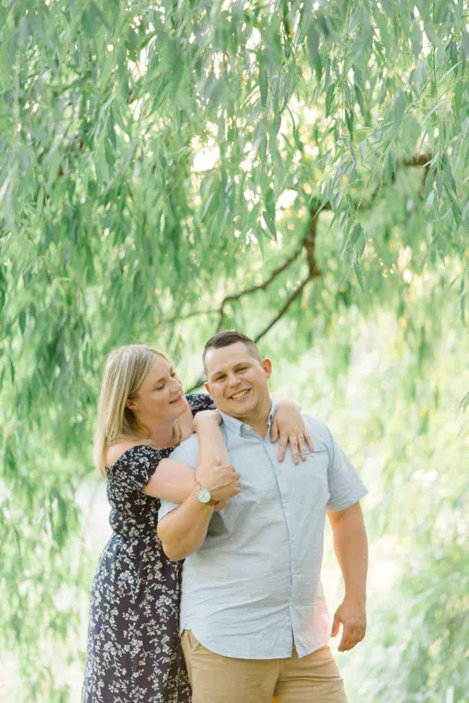 Natural Posing for Real Couples - Summer Engagement Session inspiration - Neutrals, Blues, Flowy Dress - Floral Print Navy - Grey Loft Studio - Ottawa Wedding Photographer - Wedding Videographer - Fun, Natural, Bright Photo Video Team. - Photographe - Greyloft - Ottawa Engagement Pictures