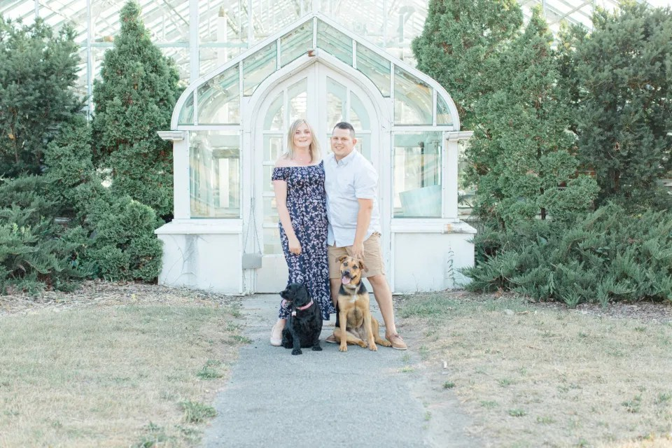 Summer Engagement Session inspiration - Neutrals, Blues, Flowy Dress - Floral Print Navy - Grey Loft Studio - Ottawa Wedding Photographer - Wedding Videographer - Fun, Natural, Bright Photo Video Team. - Photographe - Greyloft - Ottawa Engagement Pictures - Dogs Posing in Photos