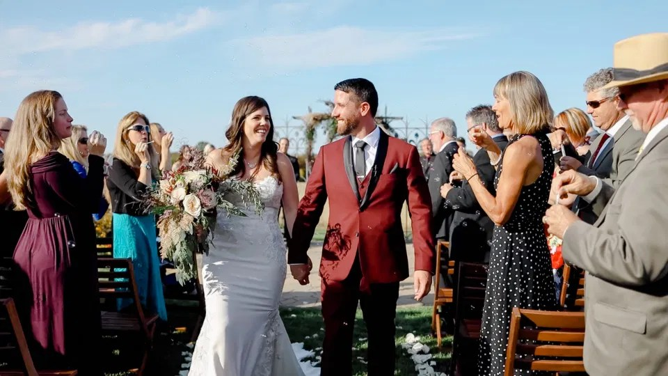 Walking down the Aisle as Husband and Wife - Evermore Wedding and Events - Blue Sky, Fall Wedding. Grey Loft Studio Photography & Videography Ottawa
