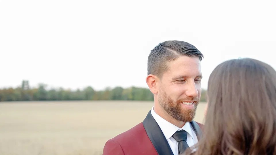 The way he looks at Her - Wedding Photo Poses & shots - Evermore Wedding and Events - Blue Sky, Fall Wedding. Grey Loft Studio Photography & Videography Ottawa
