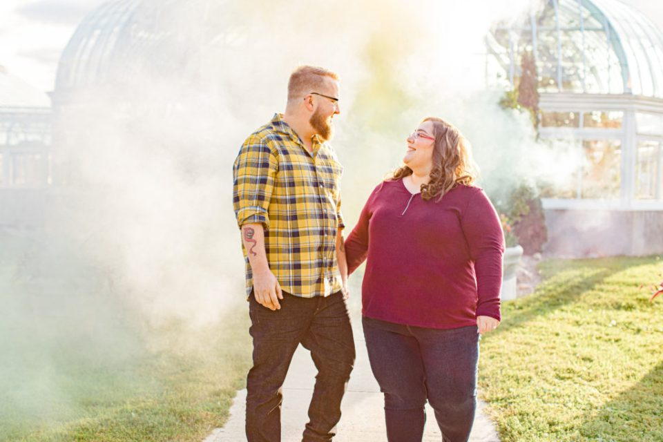 Cute standing pose with Smoke Bombs - Fall photoshoot Must Have - Ottawa Wedding Photographer - Grey Loft Studio - Wedding in Ottawa - Yellow & Plaid with Burgundy Knit Sweater and Jeans - Ottawa Photography Spots - Photographer Needed Ottawa  - Ottawa Camera Traffic - Ottawa Photographers Wedding - photographer in Ottawa