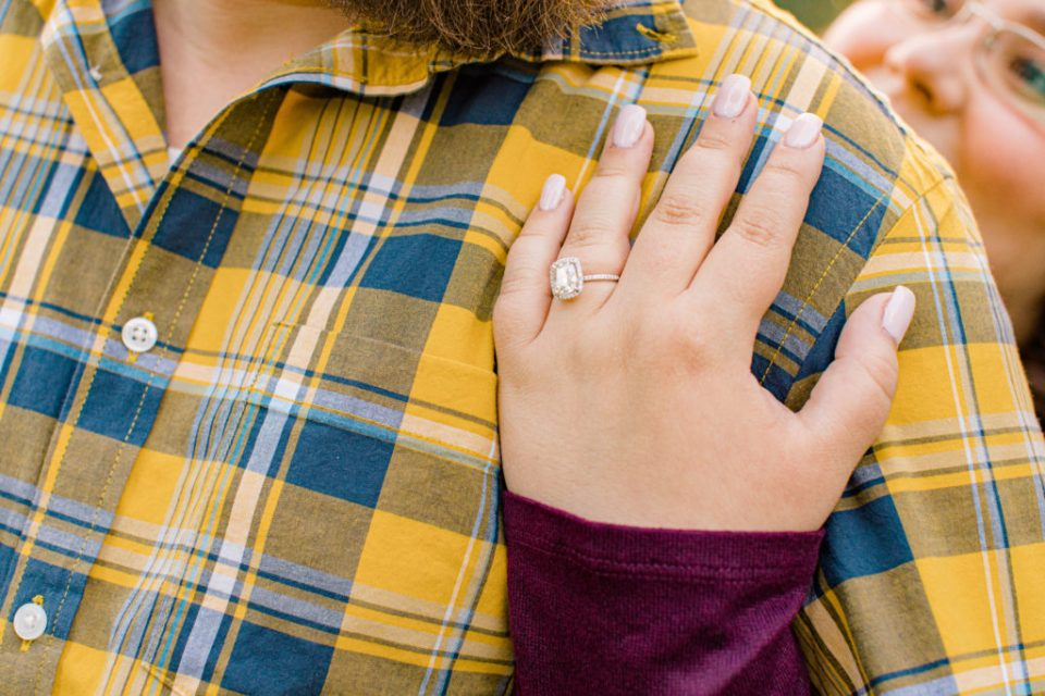 Classic Hands Holding Shirt Ring Shot- Must Have -Fall Session - Engagement Session - Ottawa Wedding Photographer - Grey Loft Studio - Wedding in Ottawa - Yellow & Plaid with Burgundy Knit Sweater and Jeans - Ottawa Photography Spots - Photographer Needed Ottawa  - Ottawa Camera Traffic - Ottawa Photographers Wedding - photographer in Ottawa