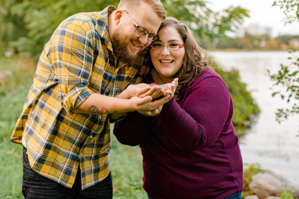 Confetti Kiss during an Engagement Session - Ottawa Wedding Photographer - Grey Loft Studio - Wedding in Ottawa  Yellow & Plaid with Burgundy Knit Sweater and Jeans