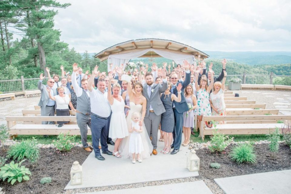 Fun Group Family Photos after Ceremony. Bride & Groom Preparation for Wedding.  Grey Loft Studio - Ottawa Wedding Photographer - Ottawa Wedding Videographer -Lavender and Grey with neutral florals.
