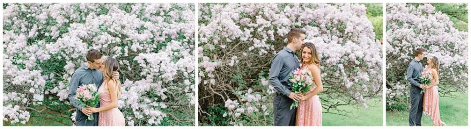 Lilac Lane Photos - during Engagement Session Ottawa - at the Arboretum in Ottawa.  Pink & Grey, taupe heels, florals, and a charcuterie board. Grey Loft Studio Wedding Photographers & Videographers.