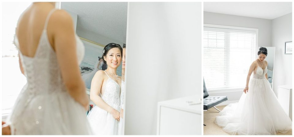 Getting Ready - Bride Looking in Mirror - Lisa & Pat - Grey Loft Studio - Wedding Photo & Video Team - Light and Airy - Ottawa Wedding Photographer & Videographer