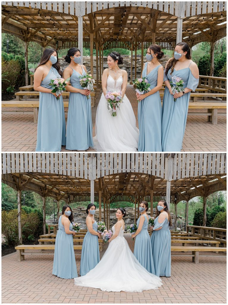 Bride and Bridesmaids - Light Blue Dusty Blue Dresses & Masks - Italian & Chinese Family - Wedding - Lisa & Pat - Grey Loft Studio - Wedding Photo & Video Team - Light and Airy - Ottawa Wedding Photographer & Videographer Orchard View Weddings