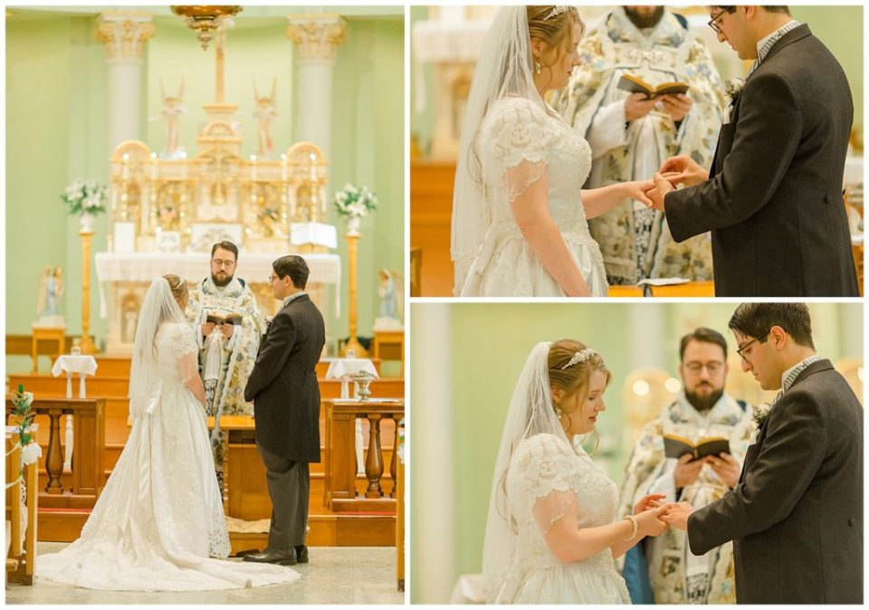 Bride and Groom exchanging Rings - St Clements Parish Ottawa - Wedding Day - Grey Loft Studio - Wedding Photographer