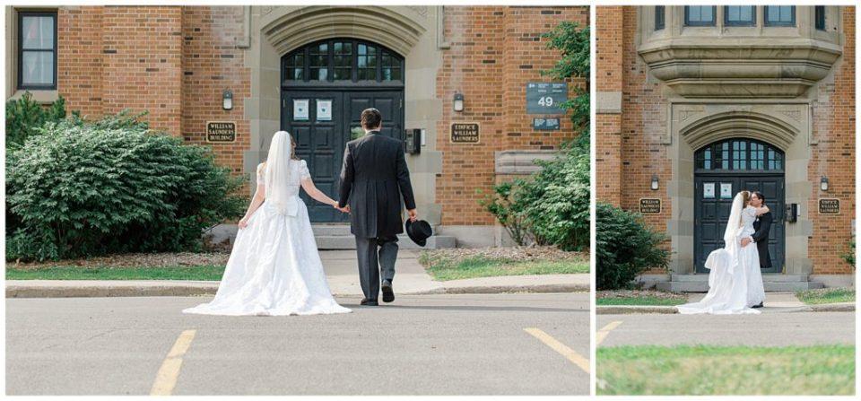 Bride and Groom Walking - Rose Garden at the Ornament Garden Ottawa - Bride and Groom Portraits -  Ottawa - Wedding Day - Grey Loft Studio - Wedding Photographer - Wedding Photographer near me