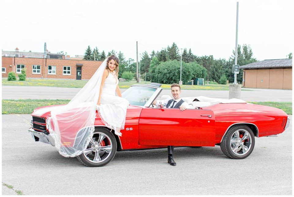 Red Chevelle - Wedding Party - Bride and Groom leaving - Grey Loft Studio - Ottawa Wedding Photographer & Videographer -Light and Airy - Kanata, Westboro, Orleans - Luxury, Genuine, Affordable Photography.