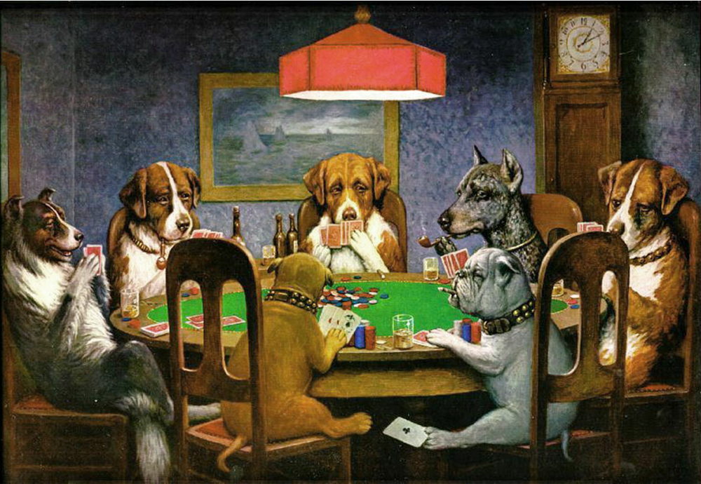 Cassius Marcellus Coolidge - A Friend in Need aka Dogs Playing Poker