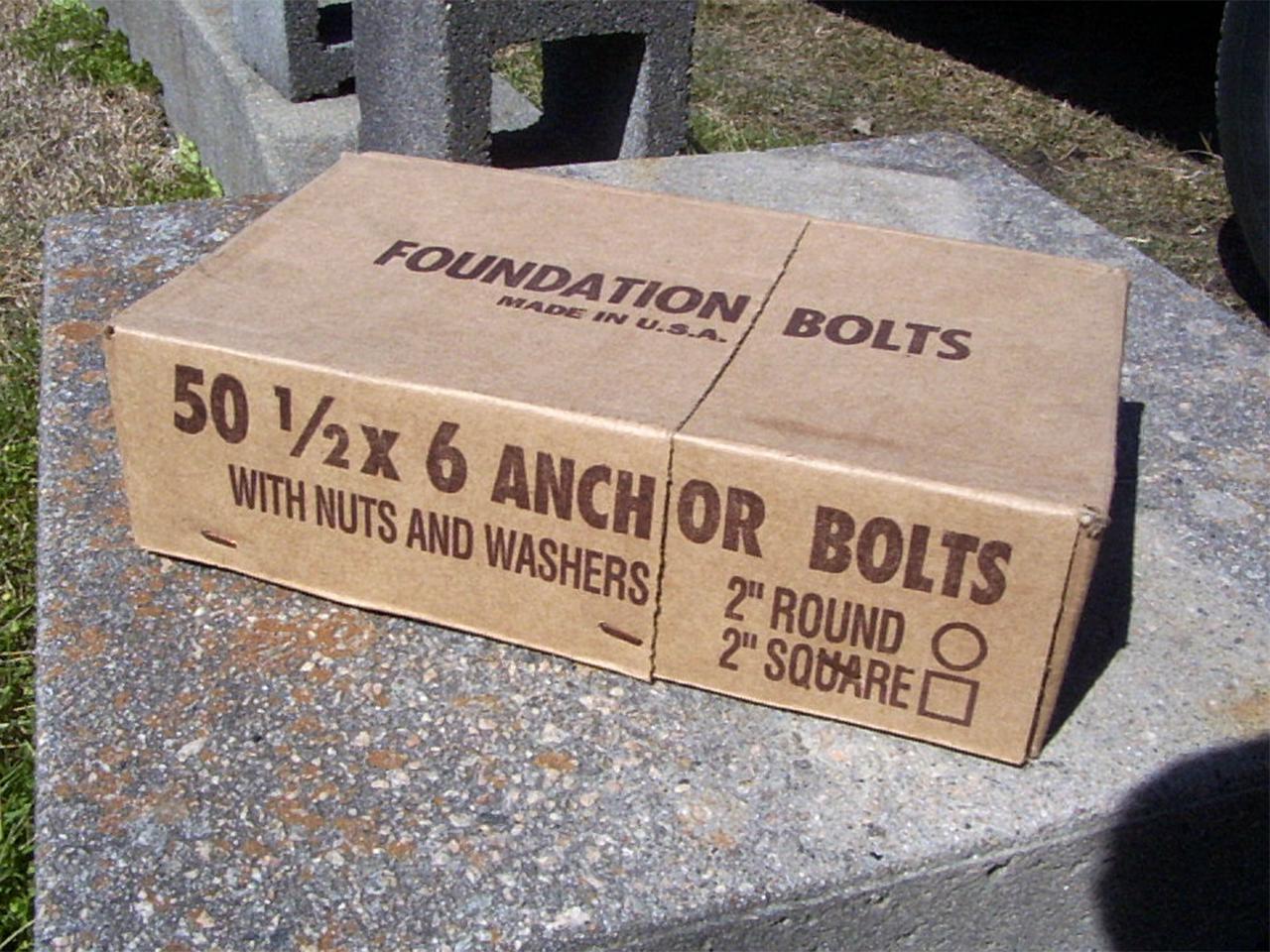 "Anchor Bolts 12"" x 6"""