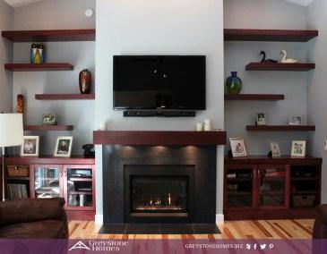 contemporary fireplace floating shelves slate surround lit mantle shelf maple flooring