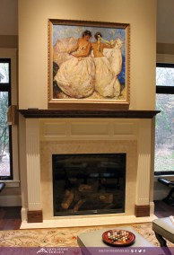 traditional fireplace wood and white painted surround