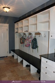 traditional mudroom white beadboard travertine floor