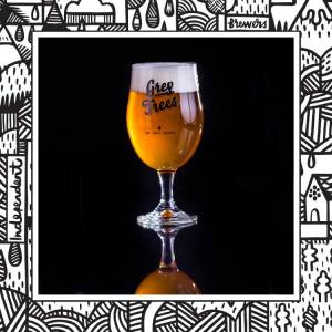 Stemmed Chalice Pint Glass of craft beer with adorned with Grey Trees logo