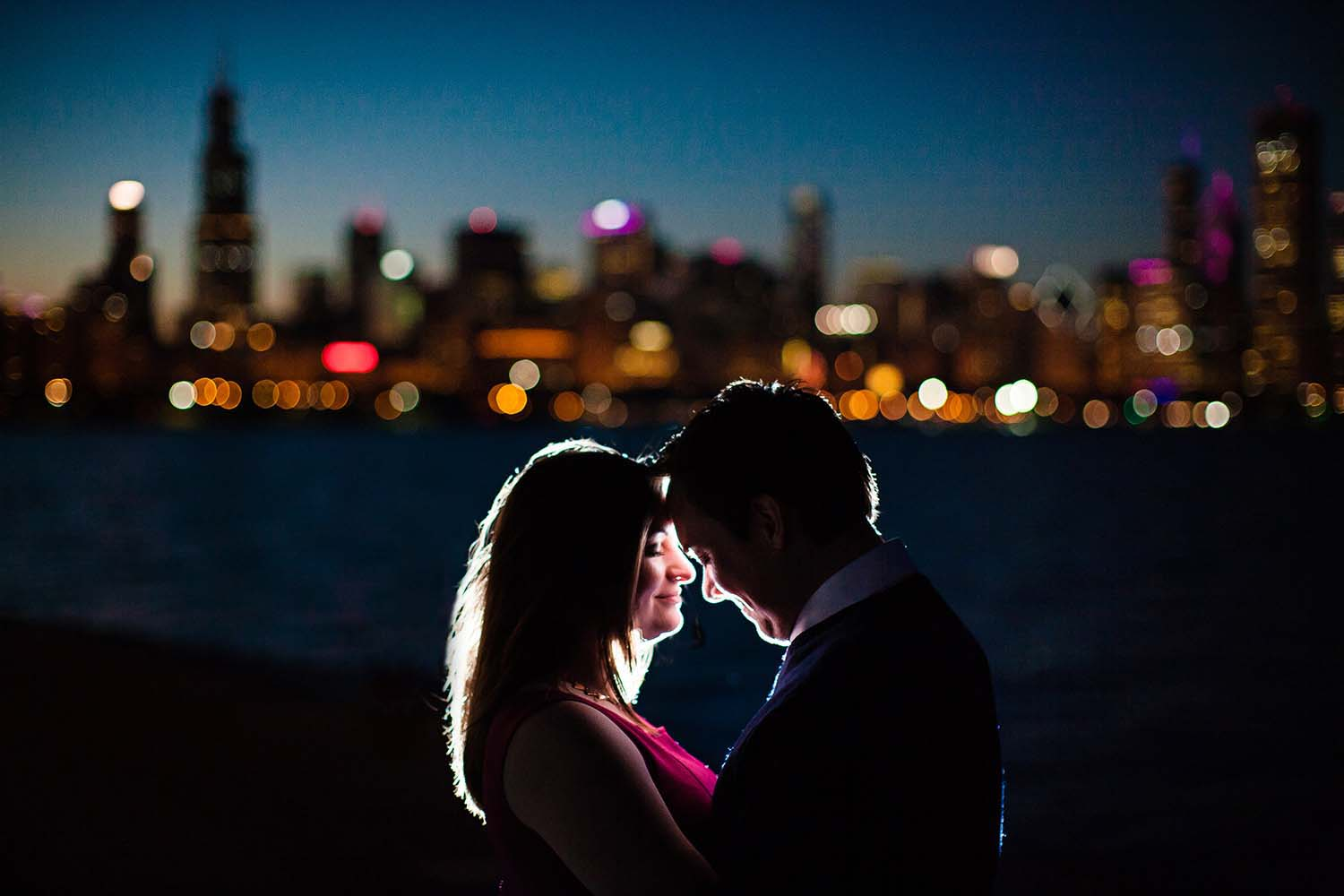 Engaged Night Chicago Skyilne Photo