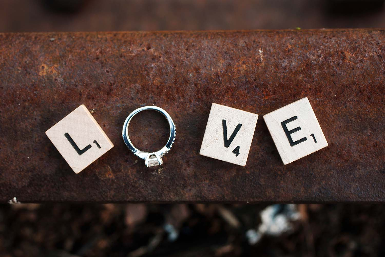 Scrabble Love Engagement Rings