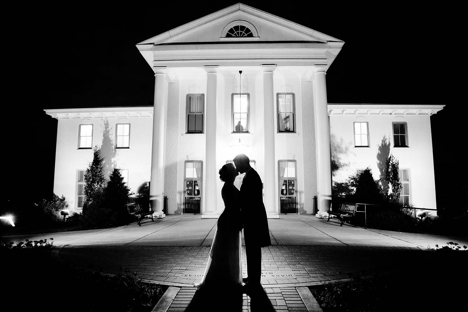Wilder Mansion Silhouetted Wedding Portrait Night
