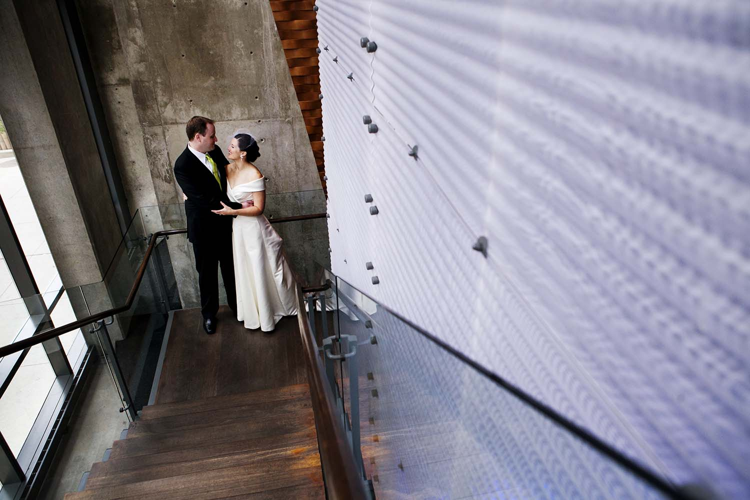 Dana Hotel Stairway Bride Groom Portrait Chicago
