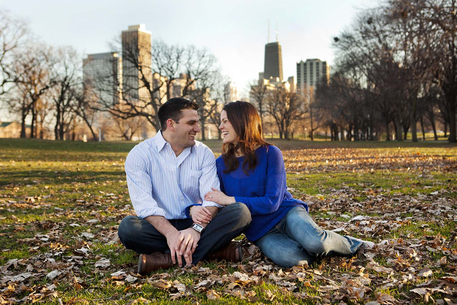 Fall Engagement Photography Park Chicago Skyline