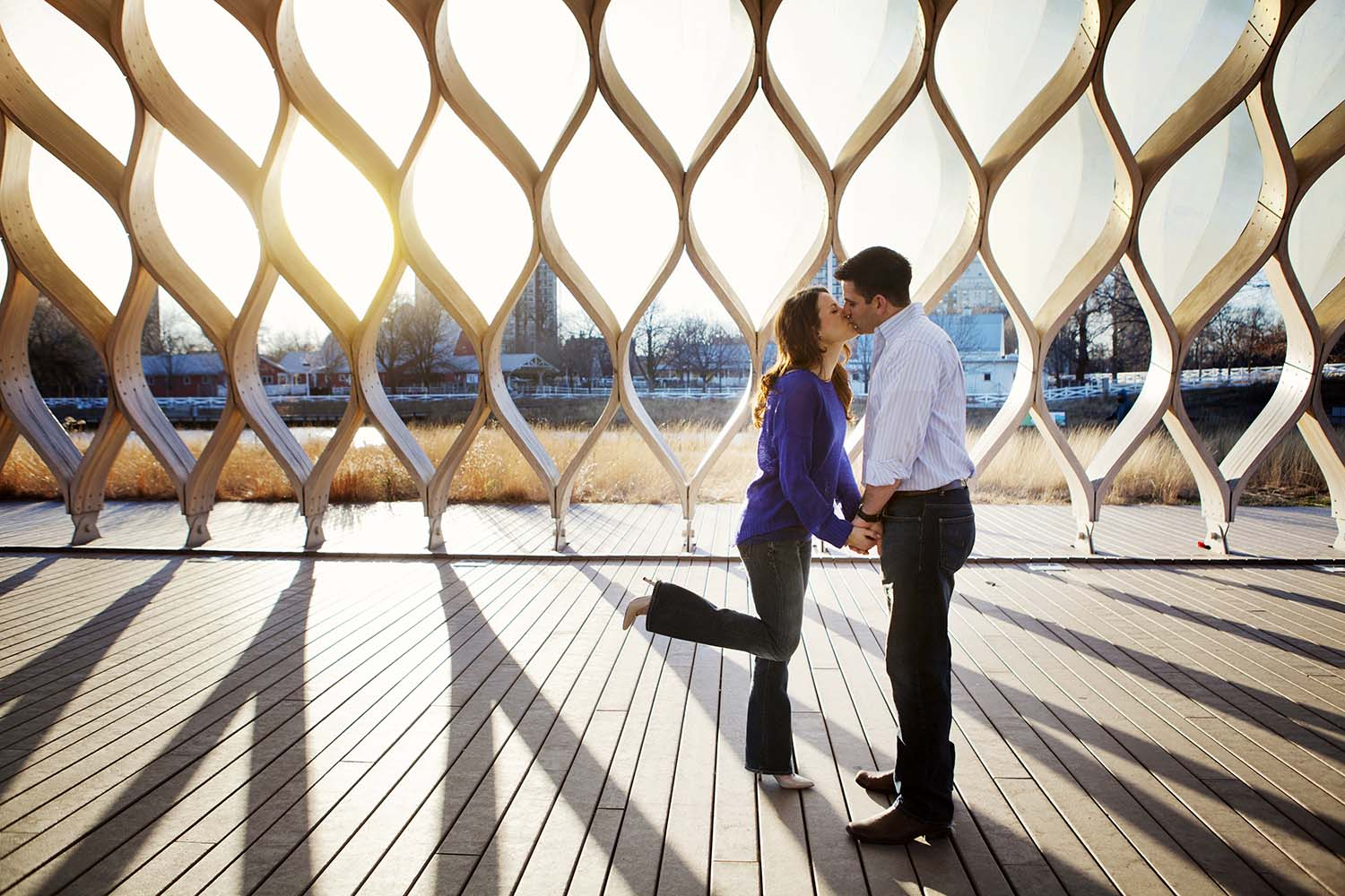 South Lincoln Park Zoo Wooden Honeycomb Sculpture Engagement Pho