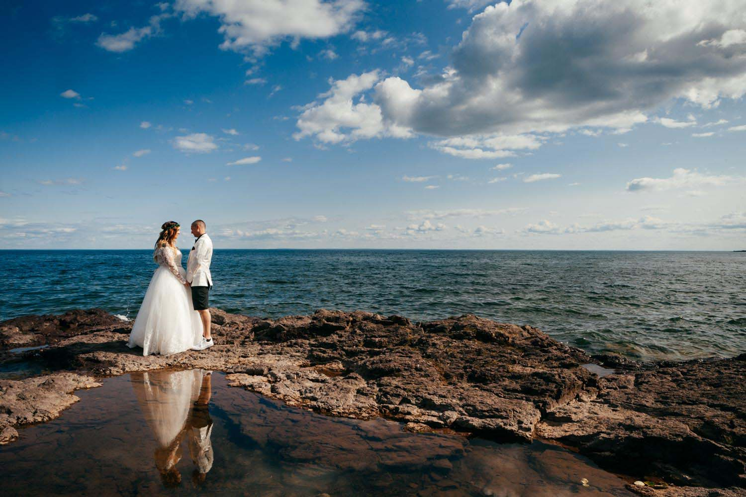Groom Bride Portrait Lake Superior Minneapolis Wedding Photograp
